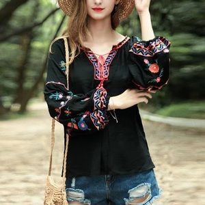 Boho embroidered puff long sleeve peasant top